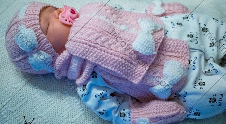 Kit de laine - Tuque, foulard et mitaines pour bébé #TFBBK-02