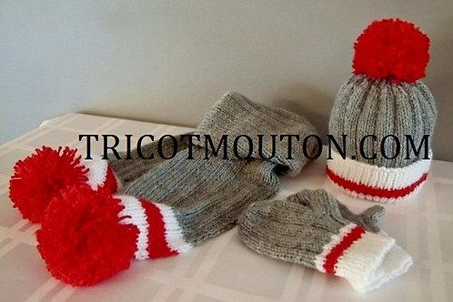 Kit de laine - Tuque, foulard et mitaines pour bébé #TFBBK-01