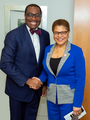 African Development Bank Pres. Adesina meets with U.S Rep. Karen Bass at Accountable Africa Forum in Washington D.C. on April 19th, 2019.