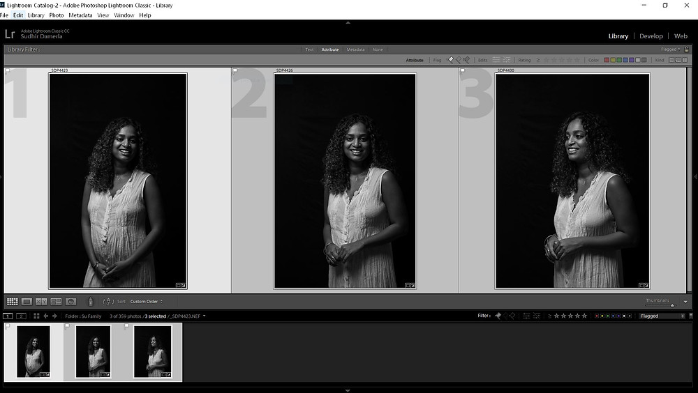 mother portrait black background lightroom screenshot