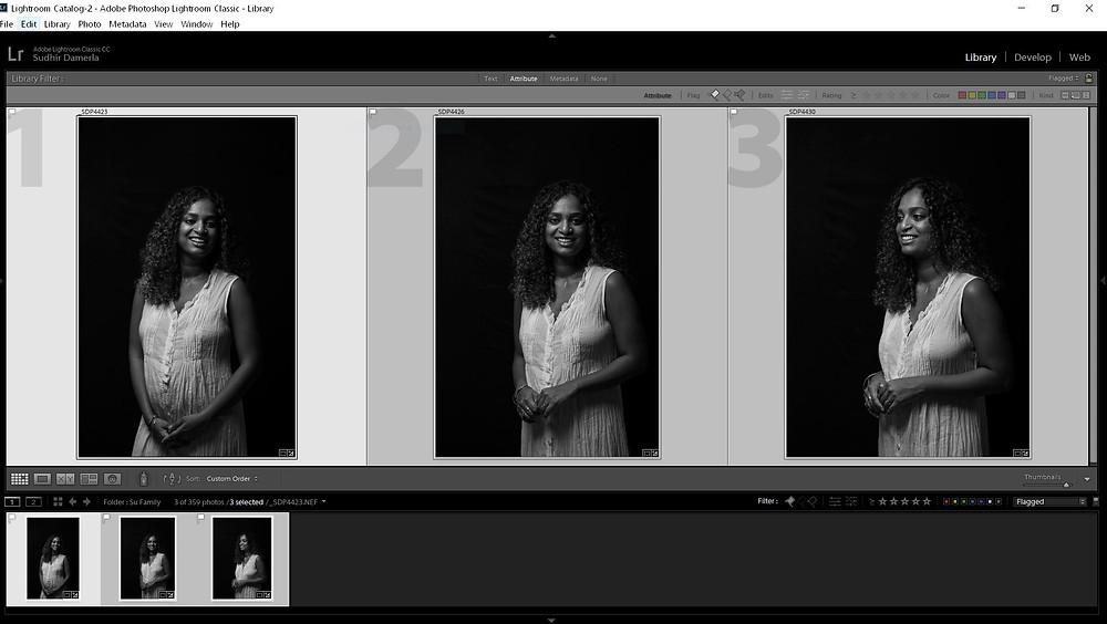 mother portrait black background lightroom screenshot