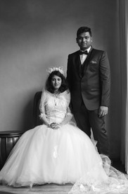 couples classic black and white portrait at wedding