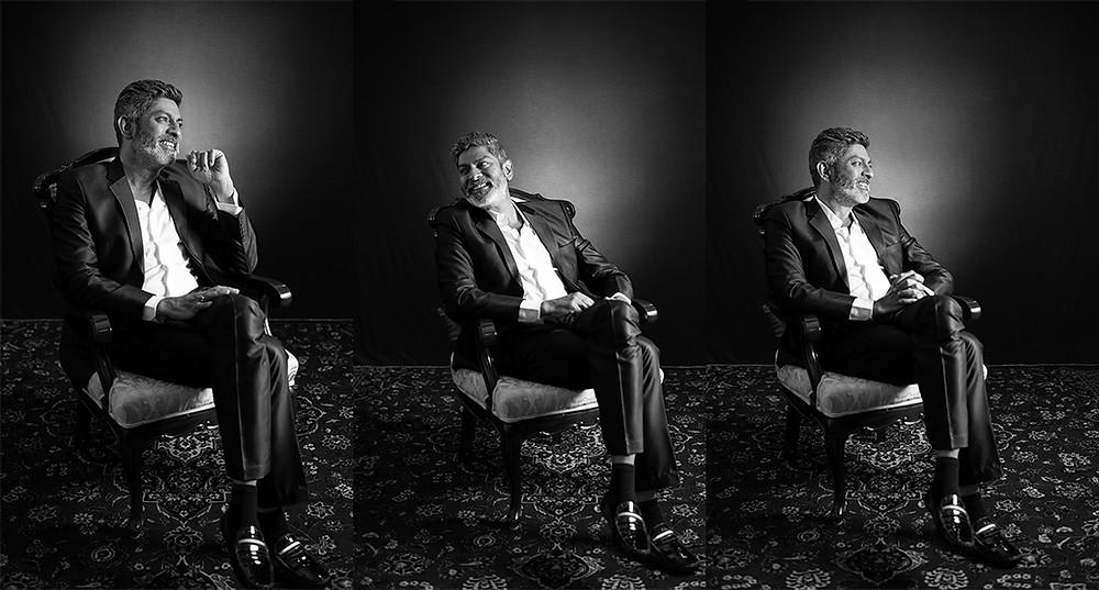 celebrity portrait black and white