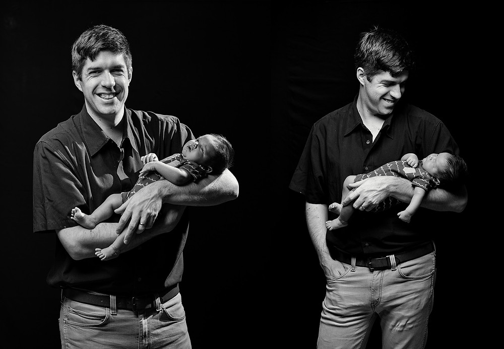 father baby newborn photography black and white