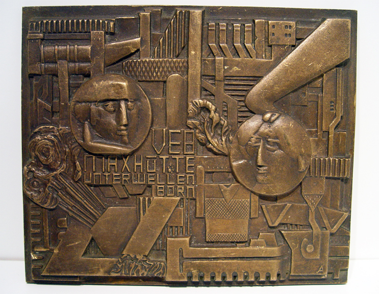 German Cubist Midcentury Bronze Plaque