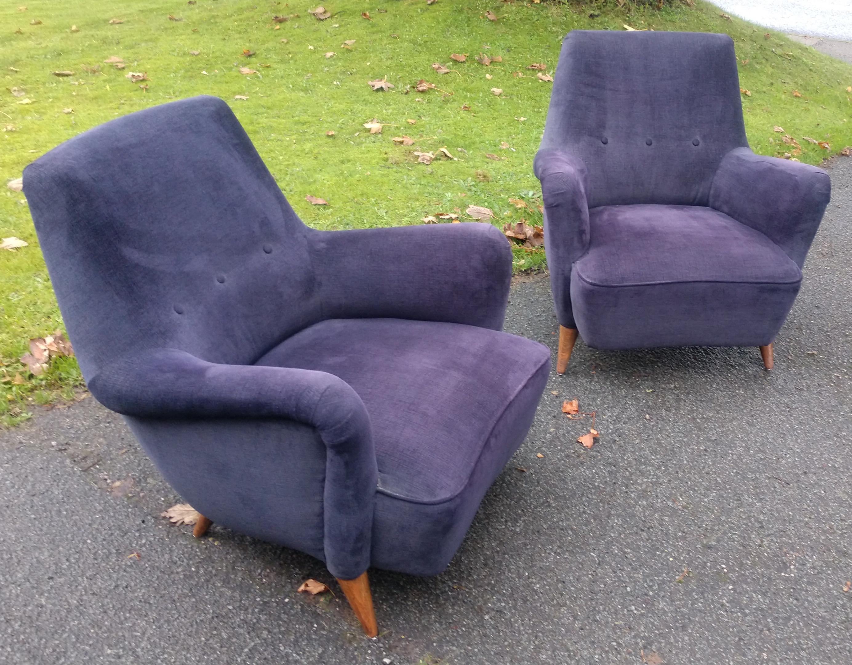 Pair 1940s Italian Lounge Chairs