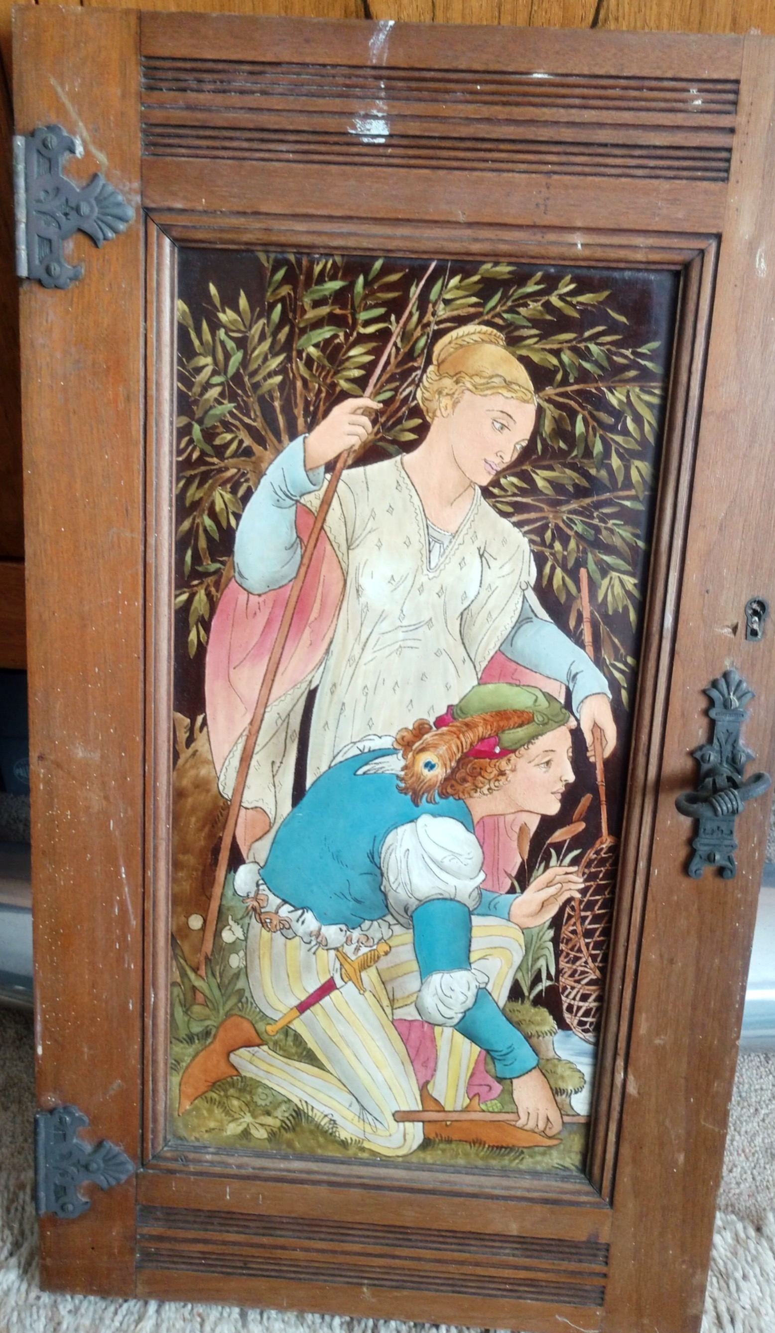 Arts and Crafts / Aesthetic Victorian Tile of Large Size - Still mounted in a cabinet door