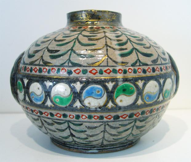 Oriental Stoneware Vase Tin Yang