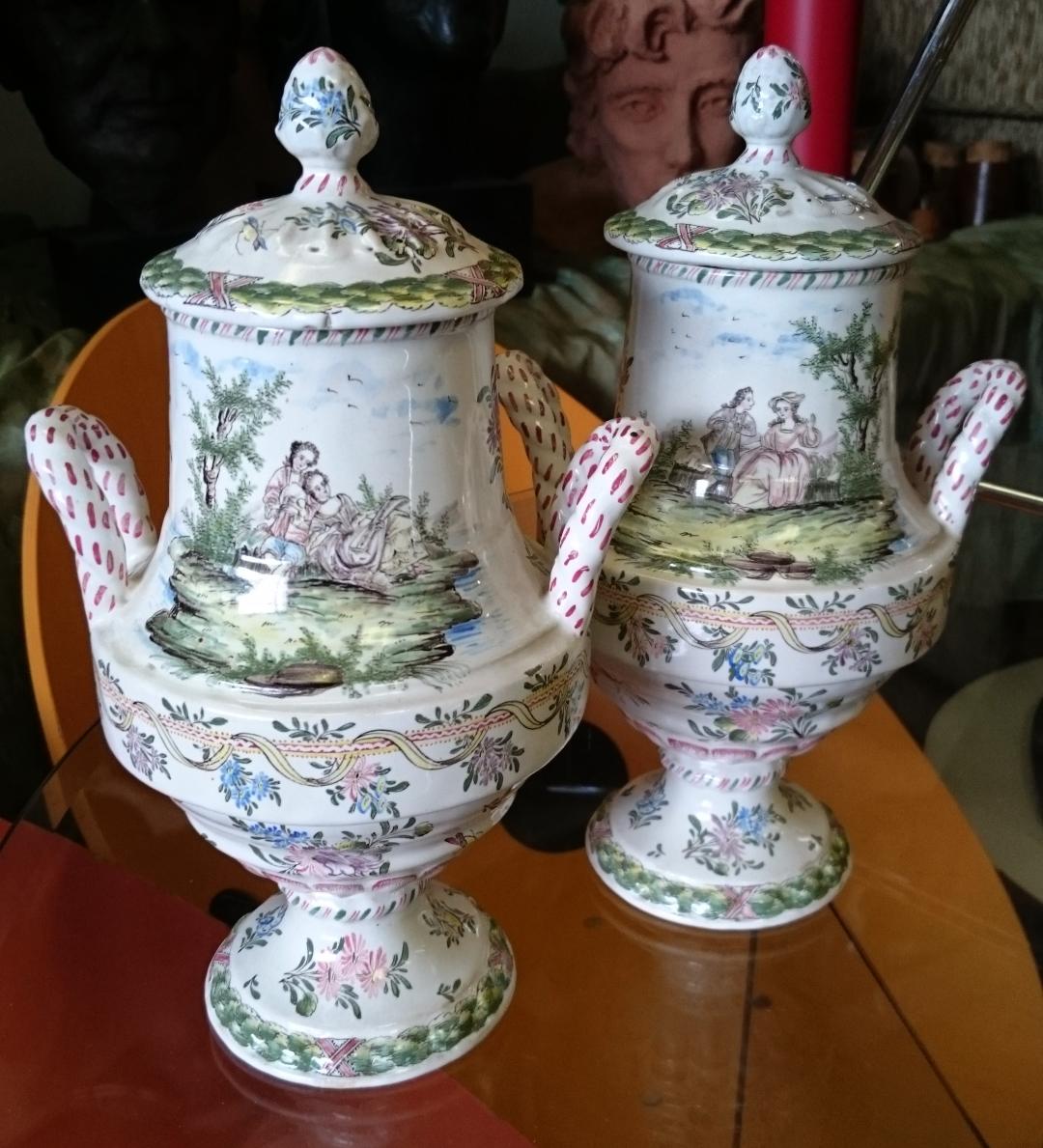 Italian Maiolica Lidded Vases