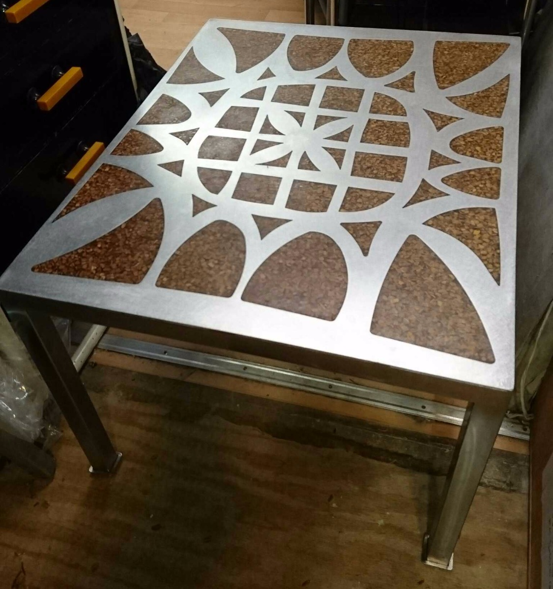 Unique stainless steel coffee table