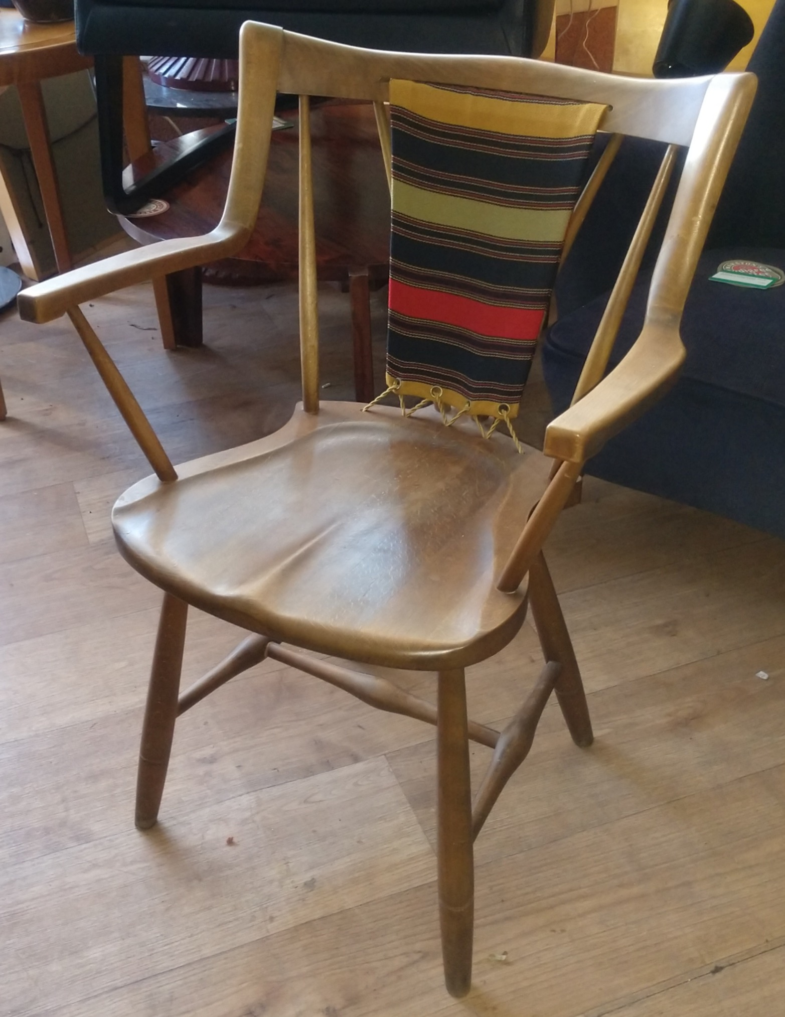 Eva and Niels Koppel Slagelse Chair, Late1940s/50s with original woven woodwork back panel