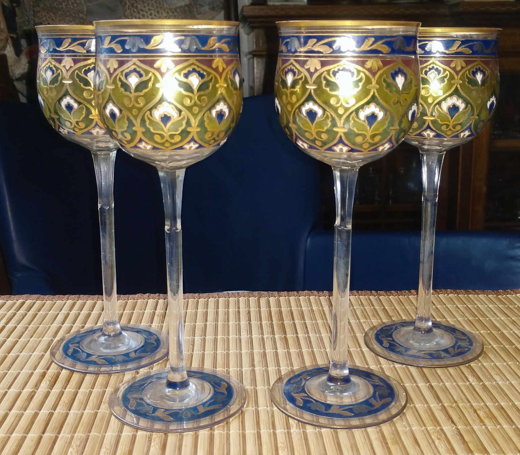 Rare Fritz Heckert Enameled and Gilded Hock Glasses Ca.1880