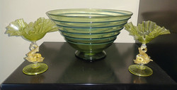 Salviati Glasses and Powell Trailed Bowl