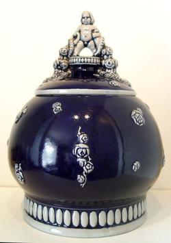 German Jugendstil Bowle Cobalt Glaze