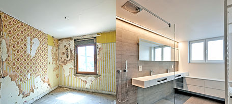 Renovation of a bathroom Before and afte