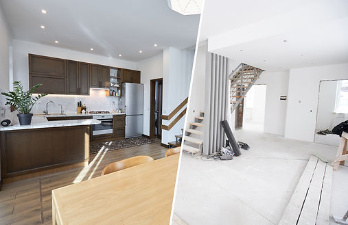 Home renovation concept. Before and afte