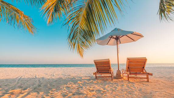 Tranquil beach scene. Exotic tropical be
