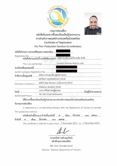 Sample of Thailand Film-Coordinator's License (Click to Enlarge) Location Services Asia