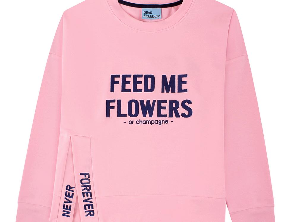 "PINK SWEATSHIRT in ""FEED ME FLOWERS"" EMBROIDERY"