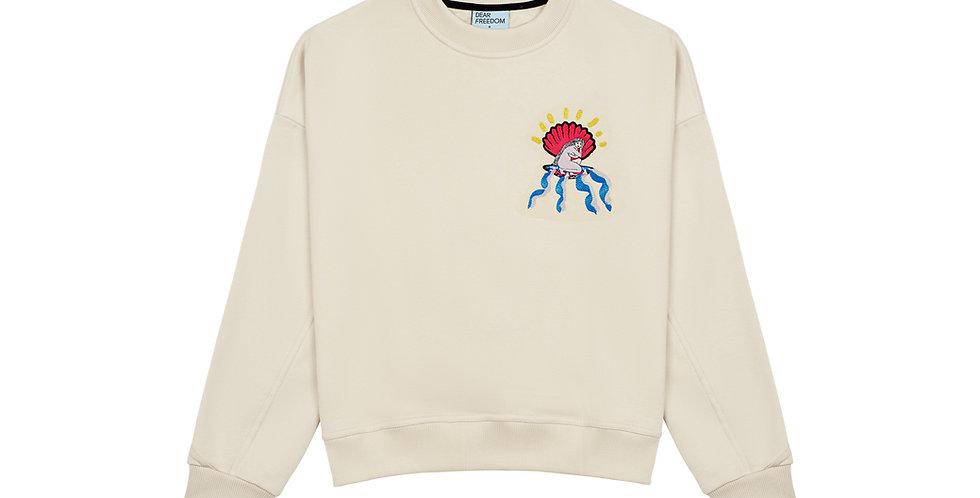 'Women' smėlio spalvos džemperis su Migloko iliustracija Dear Freedom