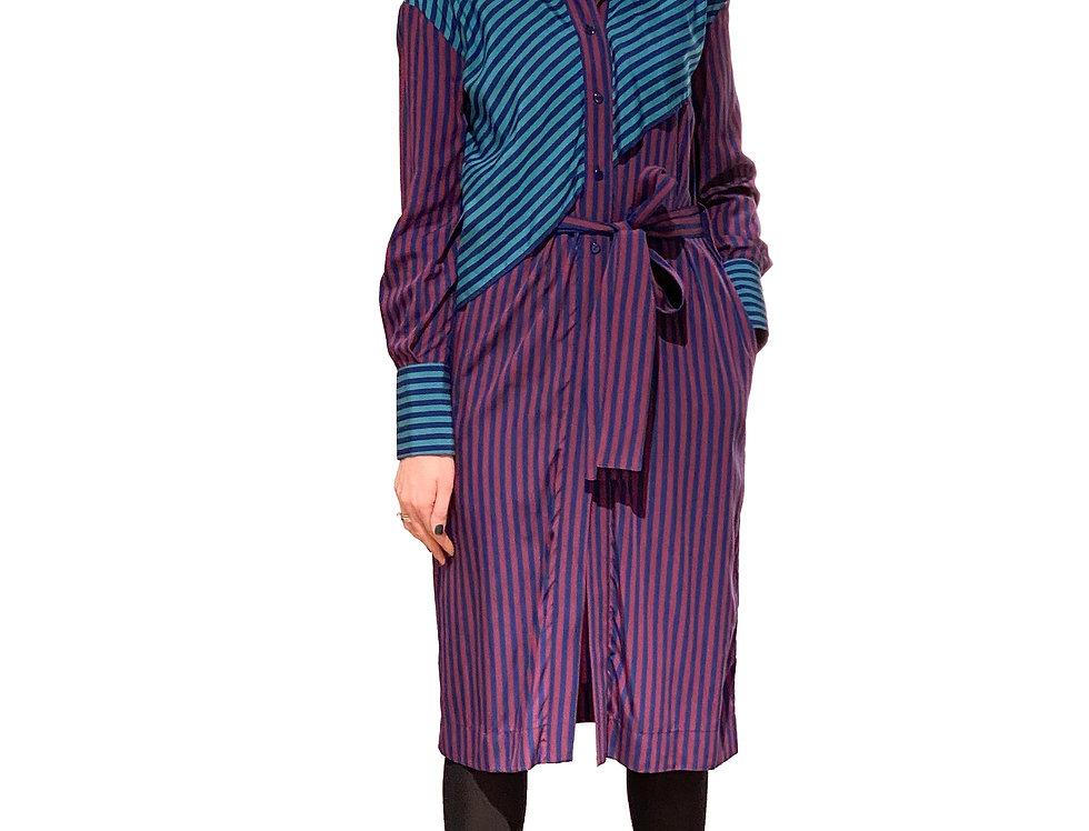 Misa Striped Shirt Dress (purple)