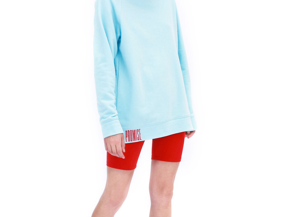 BABY BLUE BERLIN SWEATSHIRT WITH RED EMBROIDERY