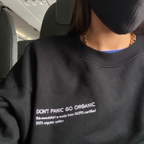 "Black Sweatshirt ""DON'T PANIC GO ORGANIC"""