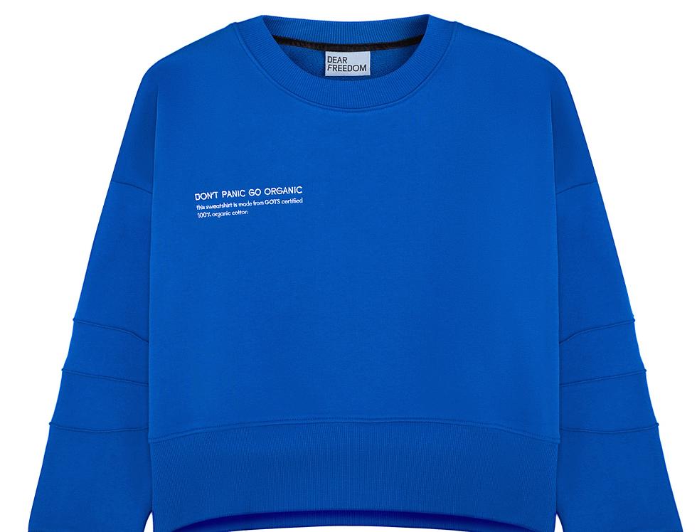 "Blue sweatshirt ""DON'T PANIC GO ORGANIC"""
