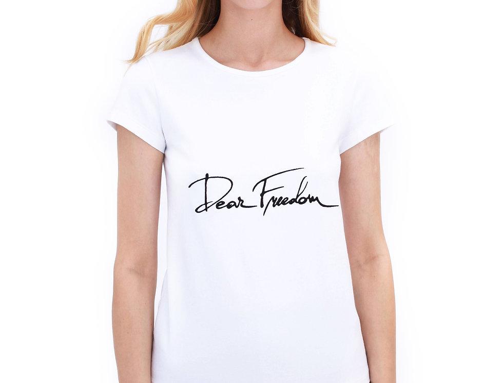 "WHITE ""DEAR FREEDOM"" T-SHIRTS"