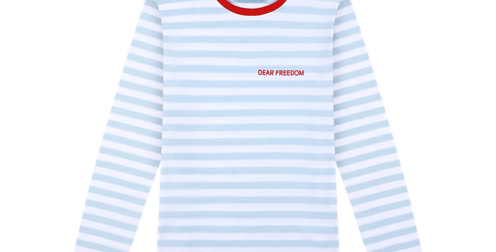 Baby Blue Striped Cotton Top Dear Freedom