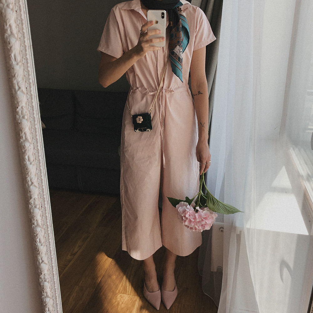 Baby pink jumpsuit is the most comfortable choice for me during this period when I want to save time.