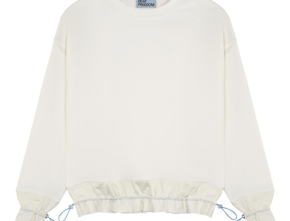 White Organic Cotton Sweatshirt With Ruffled Details Dear Freedom