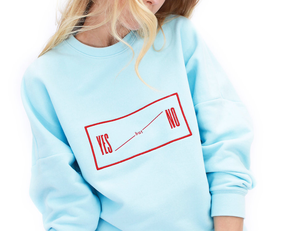 BABY BLUE LONDON SWEATSHIRT WITH RED EMBROIDERY