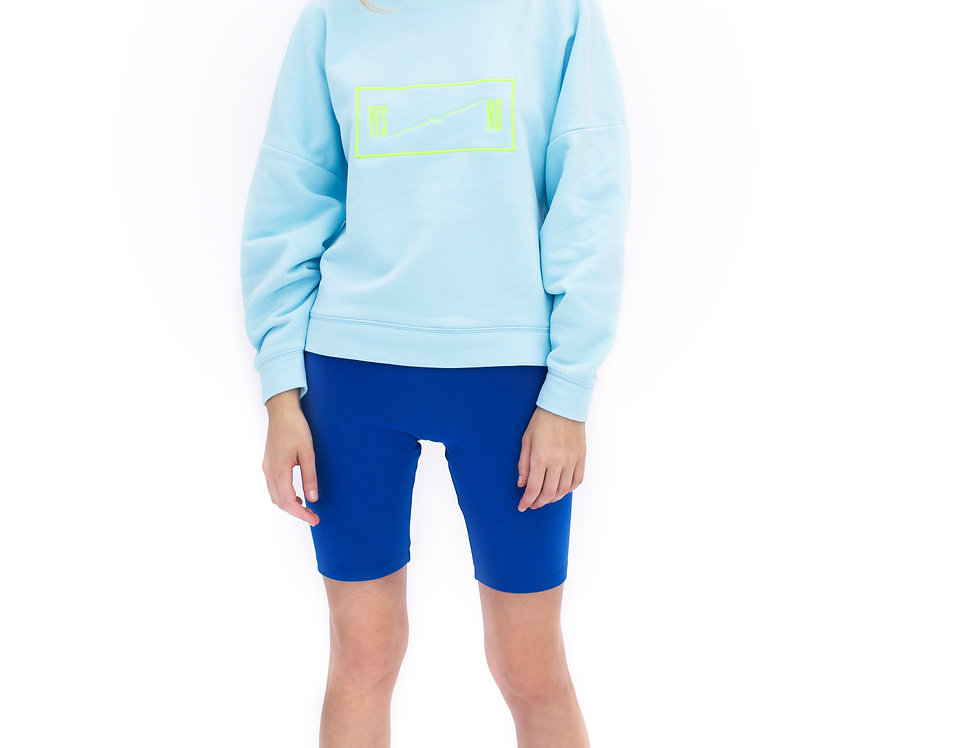 BABY BLUE LONDON SWEATSHIRT WITH NEON EMBROIDERY