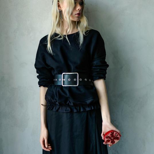 Black Organic Cotton Sweatshirt With Ruffled Details