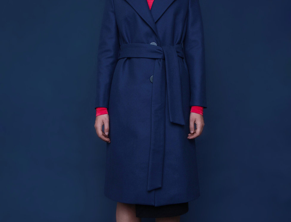 SEAPORT BLUE WOOL COAT DEAR FREEDOM