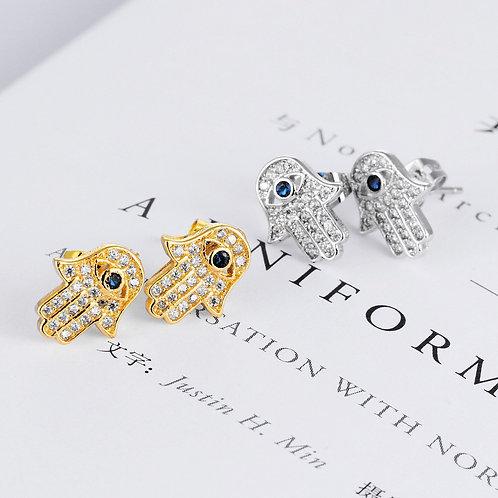 Hamsa Gold Earrings