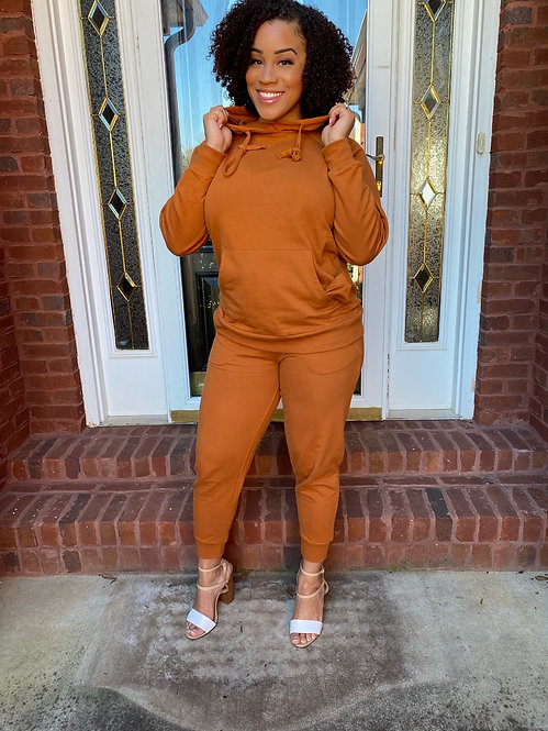Keep it Simple Sweatsuit Set - Almond