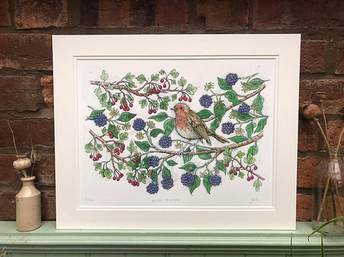 Autumn Hedgerow Limited Edition Print