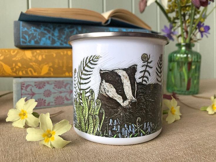Badger and Bluebells Enamel Mug