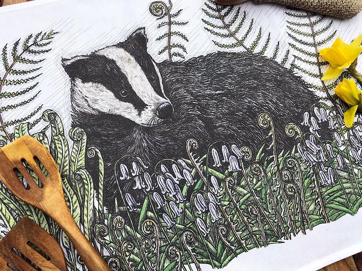 Badger and Bluebells Tea Towel