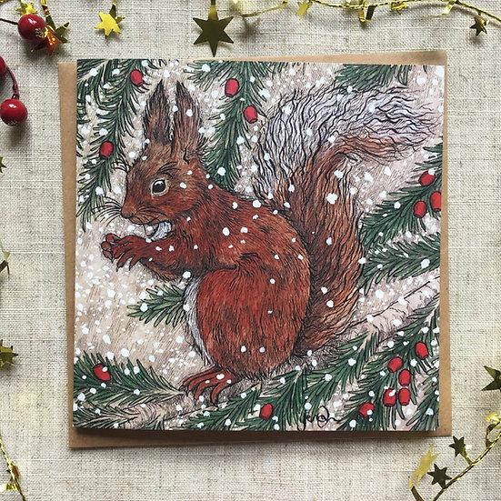 Snowy Squirrel Card