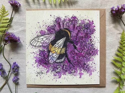 Bumblebee on Verbena Card