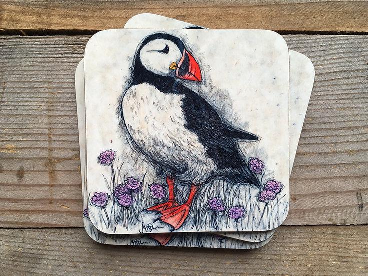 Puffin & Thrift Coaster