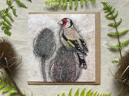 Goldfinch & Teasels Card