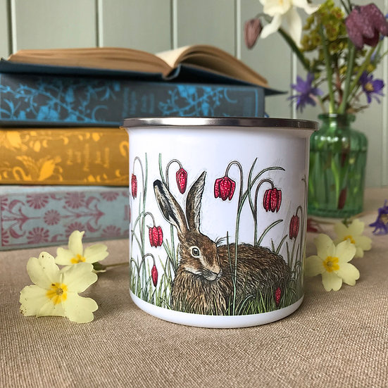 Hare and Fritillaries Enamel Mug
