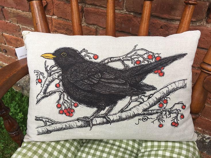 Blackbird Linen Cushion
