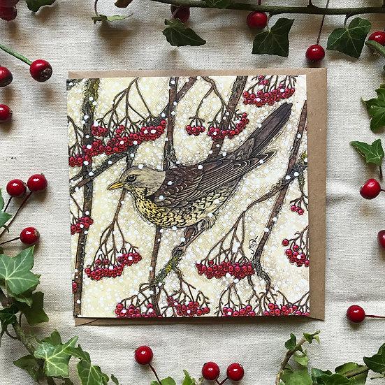 Fieldfare in Winter Card