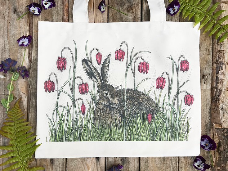 Hare and Fritillaries Tote Bag