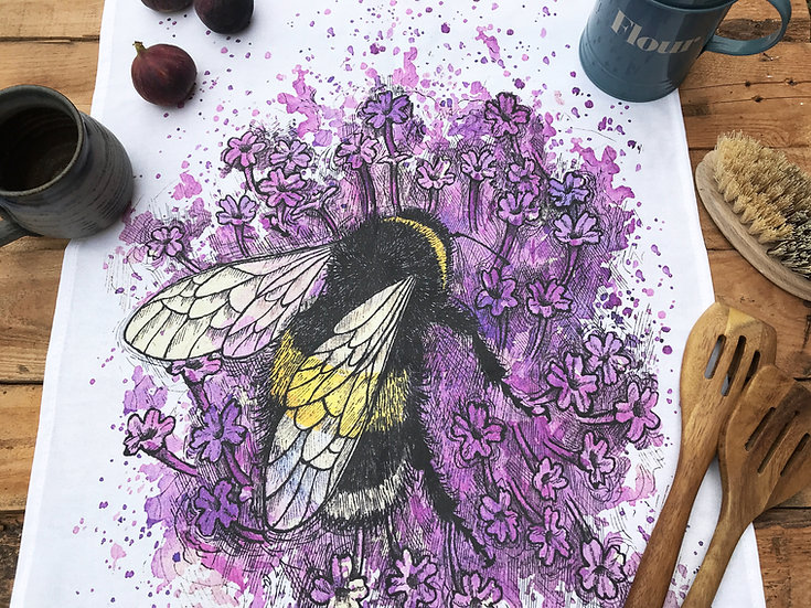 Bumblebee on Verbena Tea Towel